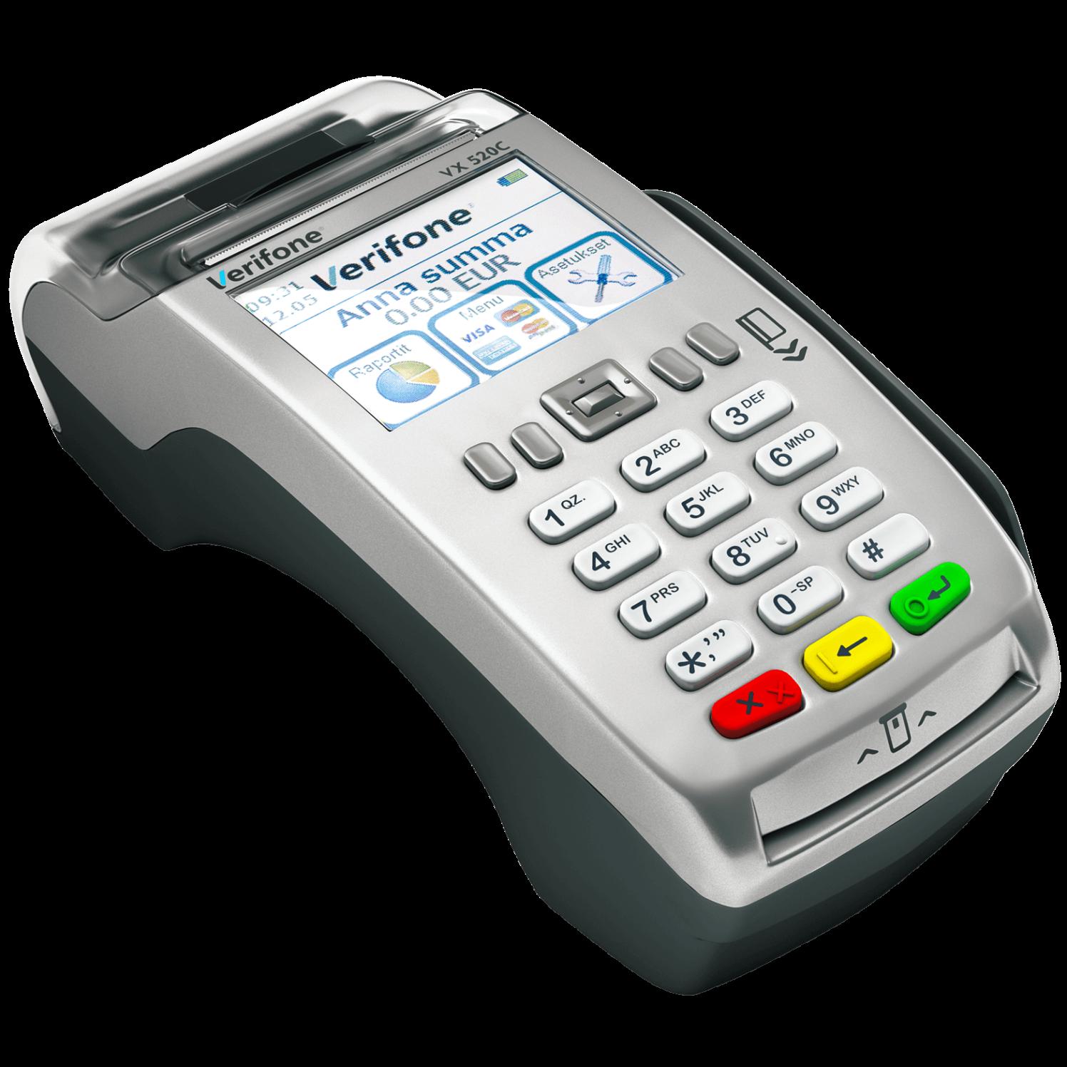 Pöytämallinen maksupääte VeriFone VX 520C on täydellinen ratkaisu maksutapahtumien vastaanottamiseen! Maksupäätteessä on sekä LAN -että 3G-yhteys sekä tehokas akku. Tämä mahdollisuuksia maksutapahtumien vastaanottamiseen lähes missä tahansa. Maksupäätteeseen voidaan liittää myös erillinen sirukortinlukija VX 820.
