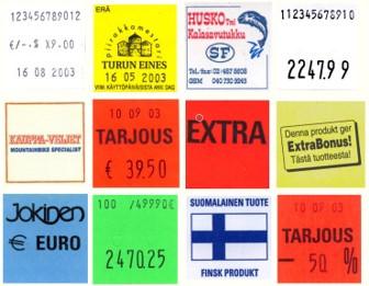 Jokaiselle etiketin riville mahdollisuus saada 12 merkkiä ja saatavana on useita erilaisia blancoja tai painettuja etikettejä. Yleisimmissä etikettimalleissa on myös eri liimavaihtoehtoja, kuten irtoava-, pakaste- ja pysyvä liima.