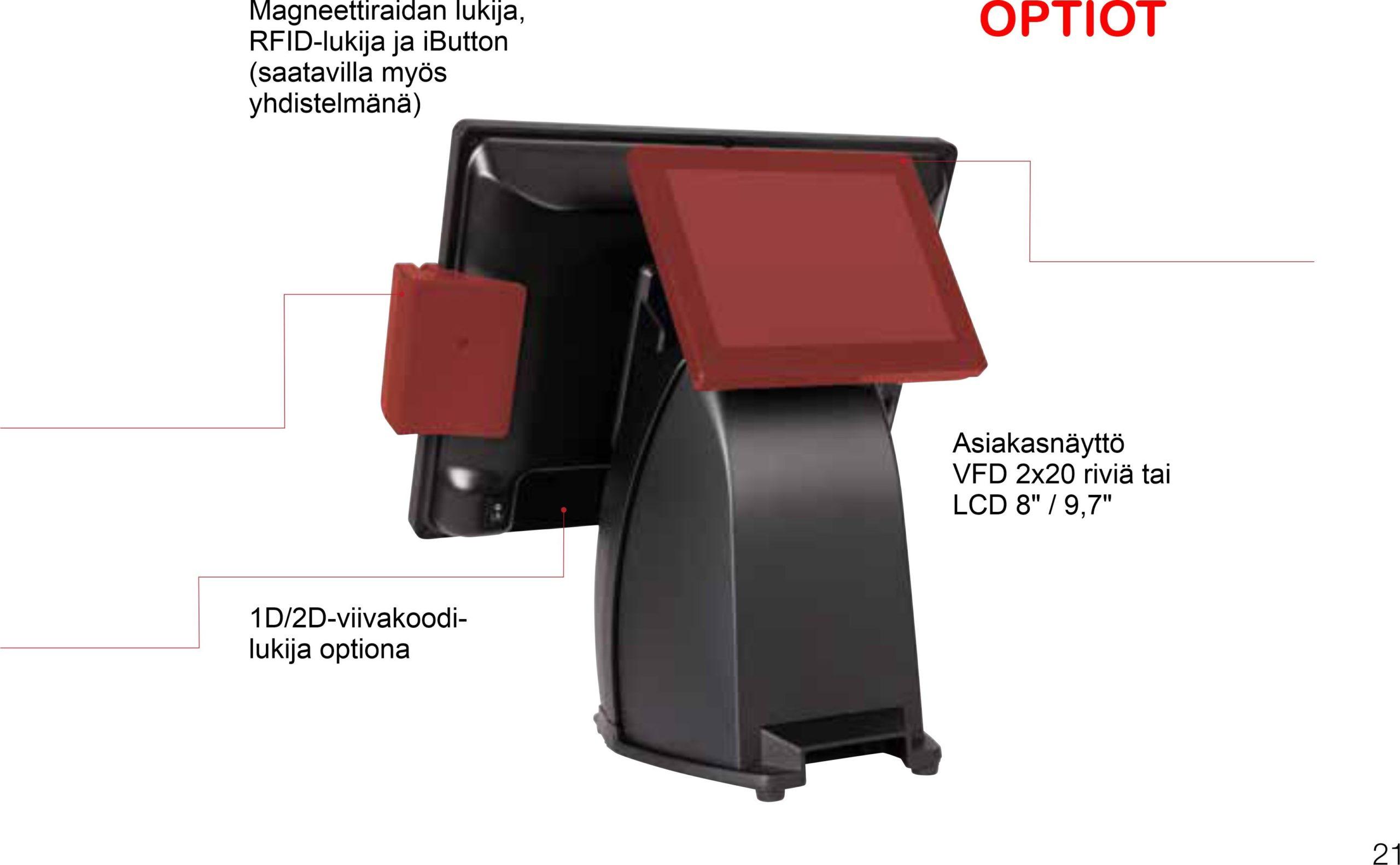 15-tuumaisella kosketusnäytöllä käyttö on helppoa ja neliydinprosessori sekä SSD-kovalevy takaavat sujuvan käytön. Sisäänrakennettu kuittikirjoittin tulostaa kuitin nopeasti ja säästät pöytätilaa kun et tarvitse erillistä kuittitulostinta.