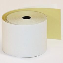 Kaksiosainen kassakonerulla värinauhalla kirjoittaviin laitteisiin. Koko 57 x 70 x 13 mm. Pituus noin 25 metriä. Keltainen pohjanauha, puuvapaa paperi 55g.