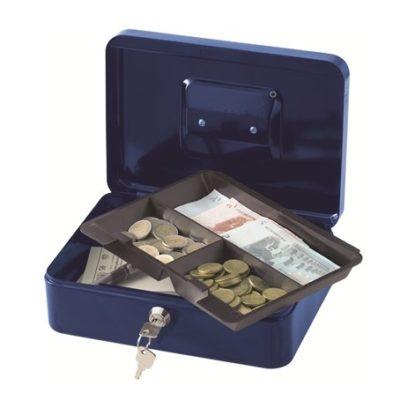 Materiaali terästä. Kantokahva. Kassalippaan sisällä muovinen lokerikko kolikoita varten. 2 avainta.