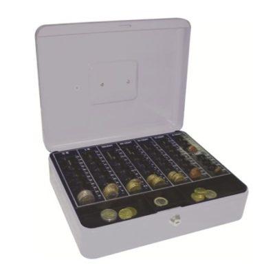 Materiaali terästä. Kantokahva. Kassalippaan sisällä muovinen lokerikko kolikoita varten. Lippaassa tarjotin eurokolikoille. 2 avainta.