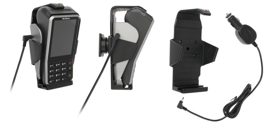 Verifone V400 -maksupäätteen autoteline. Käytetään yhdessä maksupäätteen tukiaseman kanssa. Kääntyvä malli. Kun maksupääte pidetään telineessä, sinulla on aina täysin ladattu akku. Räätälöity, täydellisesti sopiva teline. 12/24 V.